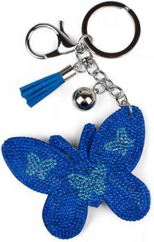 styleBREAKER Schlüsselanhänger mit Schmetterling Strass Anhänger, Quaste, Befestigungsring, Karabiner, Damen 05050015 – Bild 2