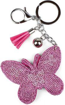styleBREAKER Schlüsselanhänger mit Schmetterling Strass Anhänger, Quaste, Befestigungsring, Karabiner, Damen 05050015 – Bild 7