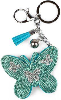 styleBREAKER Schlüsselanhänger mit Schmetterling Strass Anhänger, Quaste, Befestigungsring, Karabiner, Damen 05050015 – Bild 10