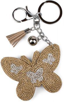 styleBREAKER keyring pendant with butterfly rhinestone pendant, tassel, fastening ring, karabiner, ladies 05050015 – Bild 6