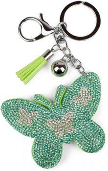 styleBREAKER Schlüsselanhänger mit Schmetterling Strass Anhänger, Quaste, Befestigungsring, Karabiner, Damen 05050015 – Bild 11