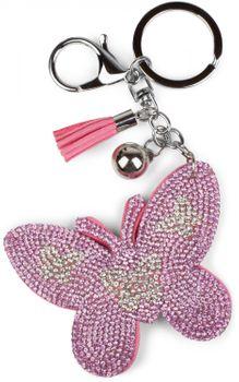 styleBREAKER keyring pendant with butterfly rhinestone pendant, tassel, fastening ring, karabiner, ladies 05050015 – Bild 9