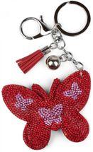 styleBREAKER Schlüsselanhänger mit Schmetterling Strass Anhänger, Quaste, Befestigungsring, Karabiner, Damen 05050015 – Bild 3