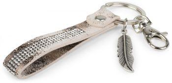 styleBREAKER keyring pendant with rhinestone and feather pendant, fastening ring, karabiner, ladies 05050016 – Bild 13