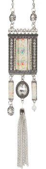 styleBREAKER Halskette Statement Kette im Ethno Style mit Strass, Kette, Perlen und Ethno Stoff, Damen 05030016 – Bild 4