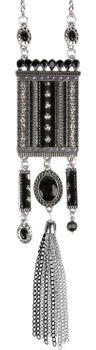 styleBREAKER Halskette Statement Kette im Ethno Style mit Strass, Kette, Perlen und Ethno Stoff, Damen 05030016 – Bild 2