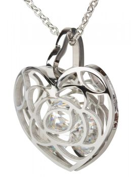 styleBREAKER heart necklace with sparkling rhinestone pendant and finely wrought curb chain, ladies 05030017 – Bild 4