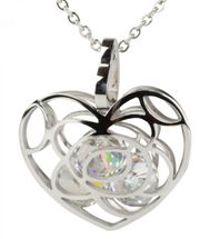 styleBREAKER heart necklace with sparkling rhinestone pendant and finely wrought curb chain, ladies 05030017 – Bild 1
