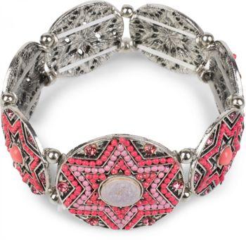 styleBREAKER Stern Form Gummizug Armband mit Perlen und Strass besetzten Amuletten, Boho Style, Damen 05040059 – Bild 9