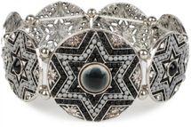 styleBREAKER Stern Form Gummizug Armband mit Perlen und Strass besetzten Amuletten, Boho Style, Damen 05040059 – Bild 2