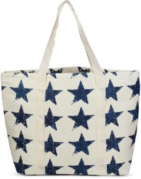 styleBREAKER vintage star design beach bag with zipper, sling bag, shopper, spa bag, ladies 02012073 – Bild 1