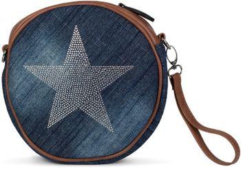 styleBREAKER runde Jeans Umhängetasche mit glitzerndem Strass Stern, Schultertasche, Handtasche, Damen 02012071 – Bild 12