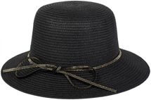 styleBREAKER straw hat with rhinestone ribbon and bow, sun hat, hat, ladies 04025011 – Bild 1