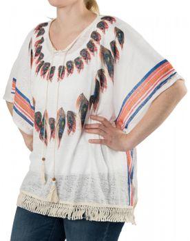styleBREAKER poncho with feather pattern with slight hole design, fringes, summer, oversize look, boho style, women 08010026 – Bild 1