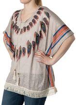 styleBREAKER poncho with feather pattern with slight hole design, fringes, summer, oversize look, boho style, women 08010026 – Bild 5