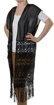 styleBREAKER long light summer ethnic-style waistcoat with cut-out arms, fringes and lace, women 08010020 – Bild 2