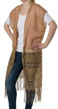 styleBREAKER long light summer ethnic-style waistcoat with cut-out arms, fringes and lace, women 08010020 – Bild 1
