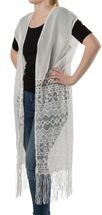 styleBREAKER long light summer ethnic-style waistcoat with cut-out arms, fringes and lace, women 08010020 – Bild 3