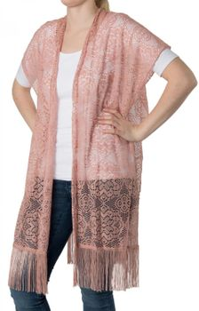 styleBREAKER crochet-style floral design waistcoat with fringes, without fastener, summer, women 08010021 – Bild 1