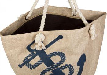 styleBREAKER Strandtasche in Flecht Optik mit Anker Print, Shopper, Badetasche, Damen 02012077 – Bild 4