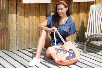 styleBREAKER Strandtasche in Flecht Optik mit Anker Print, Shopper, Badetasche, Damen 02012077