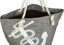 styleBREAKER Strandtasche in Flecht Optik mit Anker Print, Shopper, Badetasche, Damen 02012077 – Bild 6