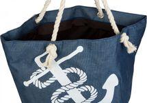 styleBREAKER Strandtasche in Flecht Optik mit Anker Print, Shopper, Badetasche, Damen 02012077 – Bild 2