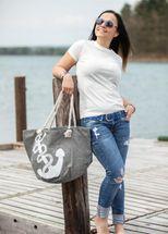 styleBREAKER Strandtasche in Flecht Optik mit Anker Print, Shopper, Badetasche, Damen 02012077 – Bild 14