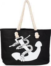 styleBREAKER Strandtasche in Flecht Optik mit Anker Print, Shopper, Badetasche, Damen 02012077 – Bild 9