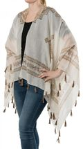 styleBREAKER light summer poncho with ethnic pattern, tassels, beach, boho style, women 08010022 – Bild 4