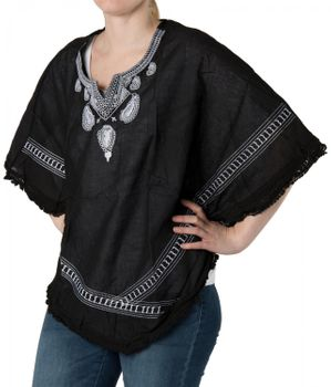 styleBREAKER poncho with embroidered collar in paisley pattern, beach, summer, women 08010023 – Bild 1
