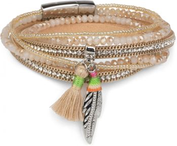 styleBREAKER wrap bracelet with rhinestones and feather pendant with tassel, pearls, chain, bracelet with magnetic fastener, women 05040062 – Bild 3