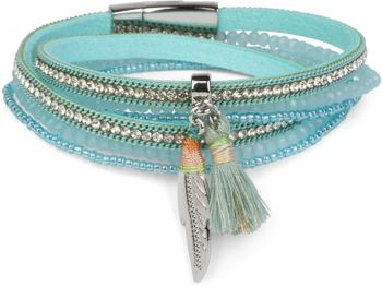 styleBREAKER wrap bracelet with rhinestones and feather pendant with tassel, pearls, chain, bracelet with magnetic fastener, women 05040062 – Bild 4