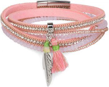 styleBREAKER Wickelarmband mit Strass und Feder Anhänger mit Quaste, Perlen, Kette, Magnetverschluss Armband, Damen 05040062 – Bild 1