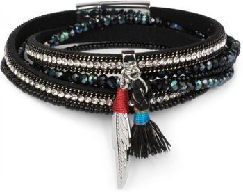 styleBREAKER wrap bracelet with rhinestones and feather pendant with tassel, pearls, chain, bracelet with magnetic fastener, women 05040062 – Bild 2