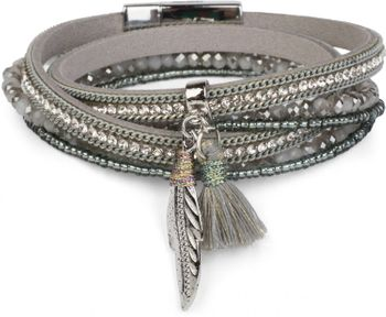 styleBREAKER wrap bracelet with rhinestones and feather pendant with tassel, pearls, chain, bracelet with magnetic fastener, women 05040062 – Bild 5