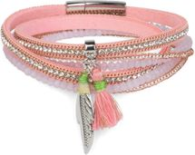 styleBREAKER wrap bracelet with rhinestones and feather pendant with tassel, pearls, chain, bracelet with magnetic fastener, women 05040062 – Bild 1