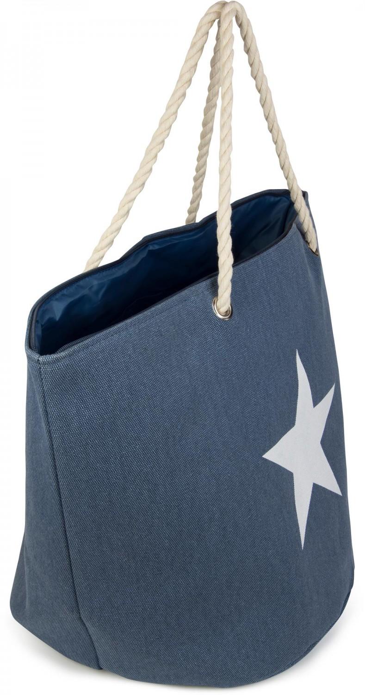 große XXL Strandtasche mit Stern Print Damen Schultertasche Shopper Badetasche