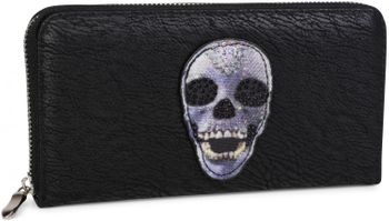 styleBREAKER wallet with skull and crossbones applique and rhinestones, all-around zip, women 02040053 – Bild 2