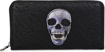 styleBREAKER wallet with skull and crossbones applique and rhinestones, all-around zip, women 02040053 – Bild 1