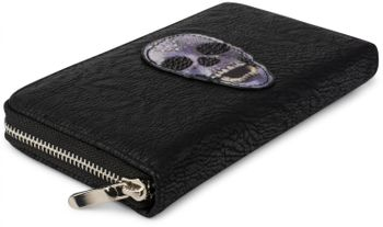 styleBREAKER wallet with skull and crossbones applique and rhinestones, all-around zip, women 02040053 – Bild 3