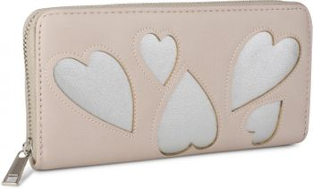 styleBREAKER wallet with heart cut-out pattern and decorative stitching, all-around zip, wallet, women 02040054 – Bild 5