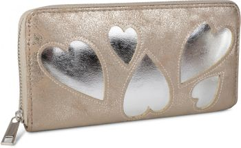 styleBREAKER wallet with heart cut-out pattern and decorative stitching, all-around zip, wallet, women 02040054 – Bild 1