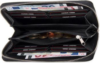 styleBREAKER Geldbörse mit Stern Nieten, umlaufender Reißverschluss und Handschlaufe, Portemonnaie, Damen 02040055