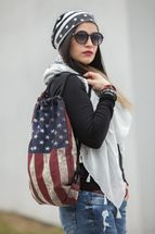 styleBREAKER gym bag rucksack with USA stars and stripes vintage design, sports bag, unisex 02012081 – Bild 4