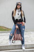 styleBREAKER Turnbeutel Rucksack im USA Stars and Stripes Vintage Design, Sportbeutel, Unisex 02012081 – Bild 5