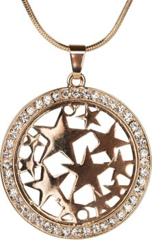 styleBREAKER necklace with round star pendant set with rhinestones, snake chain, lobster clasp, women 05030020 – Bild 2