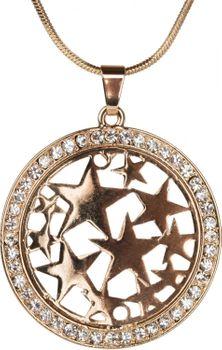 styleBREAKER Halskette mit rundem Stern Anhänger besetzt mit Strass, Schlangenkette, Karabinerverschluss, Damen 05030020 – Bild 2