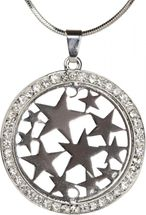 styleBREAKER necklace with round star pendant set with rhinestones, snake chain, lobster clasp, women 05030020 – Bild 1