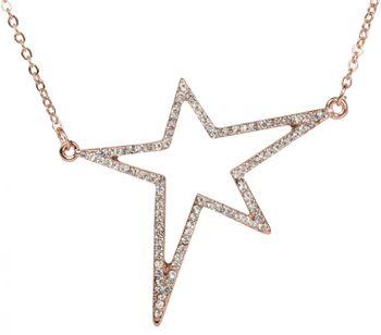 styleBREAKER Halskette mit Stern Strass Anhänger und feiner Panzerkette, Karabinerverschluss, Damen 05030022 – Bild 3